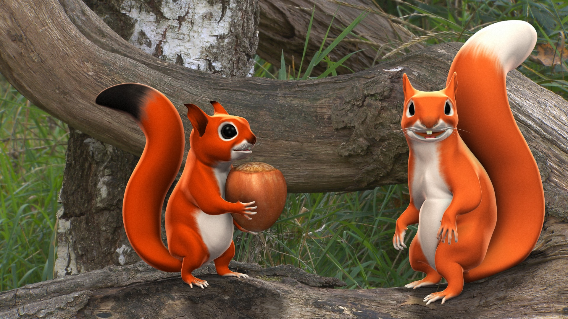 Pip and pip Squeak 3d animated squirrels