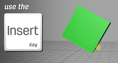 use the insert key to move the pivot point