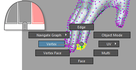 right mouse click select vertices