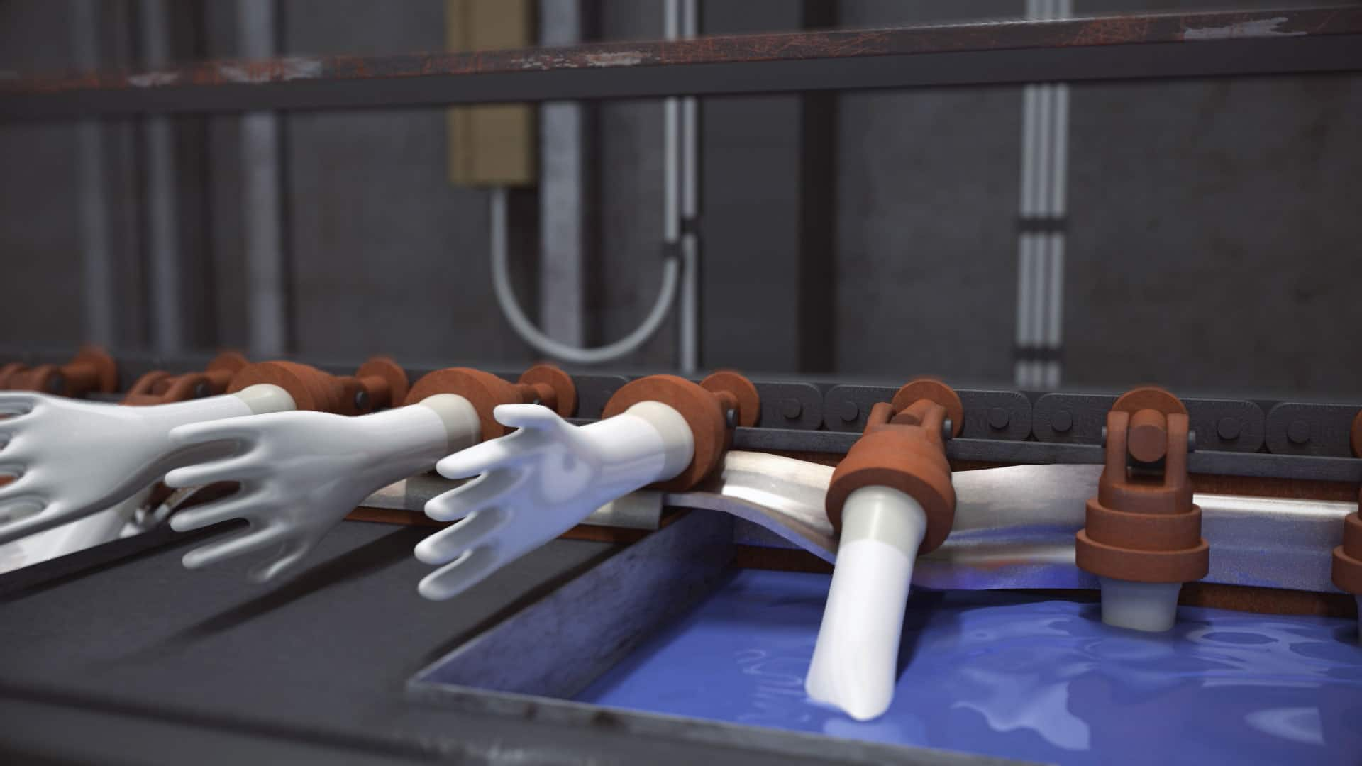 3d glove dipping animation