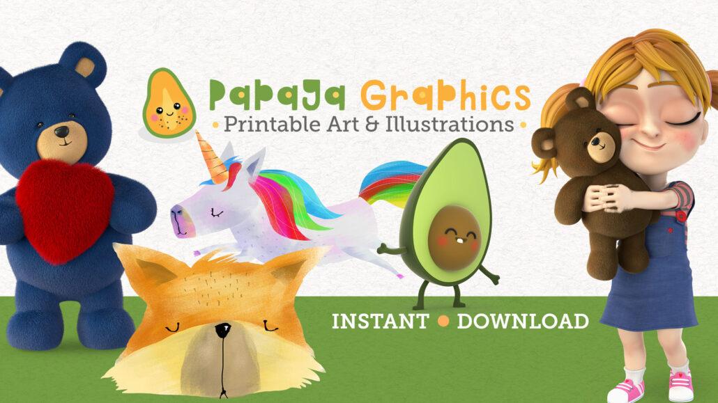 Printable wall art and illustrations